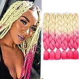 6 Packs 24' Braids Extensions Kunsthaar Crochet Jumbo Braids Synthetik Braiding Hair Ombre Jumbo Braid 100g/Bündel 60cm Grau Extensions (613/pink)