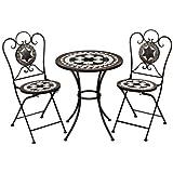 Deuba Mosaiksitzgarnitur Oriental 2X Stuhl + 1 Tisch Sitzgruppe Mosaiktisch Mosaikstuhl Gartentisch Bistrotisch