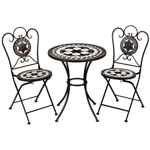 Deuba Conjunto de muebles de jardín Mosaico Oriental set de mesa y sillas plegables terraza patio metal diseño moderno