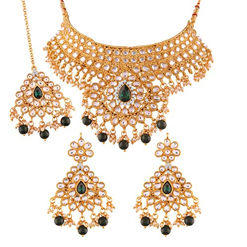 I Jewels 18K Gold Plated Traditional Stone Studded Choker Necklace Jewellery Set with Earrings & Maang Tikka For Women (K7074G)