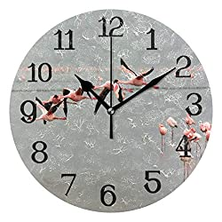 Ernest Congreve Wall Clock Flying Flamingo 10 inch Silent Non-Ticking Round Circle Classic Clock Retro Quartz Battery Operated Clocks for Living Room Kitchen Home Office Decor