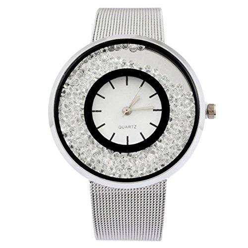 MJartoria Damen Armbanduhr Quarz Uhr Modeschmuck Milanaiseband Mode Design mit Strass Silber Farbe (Silber)