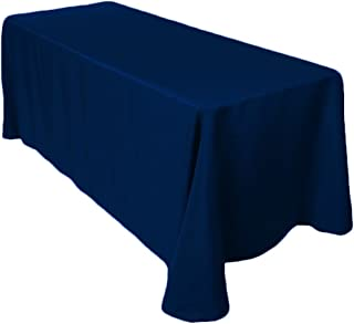 """Gee Di Moda Rectangle Tablecloth - 90 x 132"""" Inch - Navy Blue Rectangular Table Cloth for 6 Foot Table in Washable Polyester - Great for Buffet Table, Parties, Holiday Dinner, Wedding & More"""