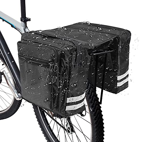 RANJIMA Borsa per Bicicletta,Borse Bici Posteriore Laterali Multifunzionale, Grande capacità Doppia Borsa per Portapacchi,Borsa Bicicletta Impermeabile per Mountain Bike, Bici da Corsa Outdoor (Nero)