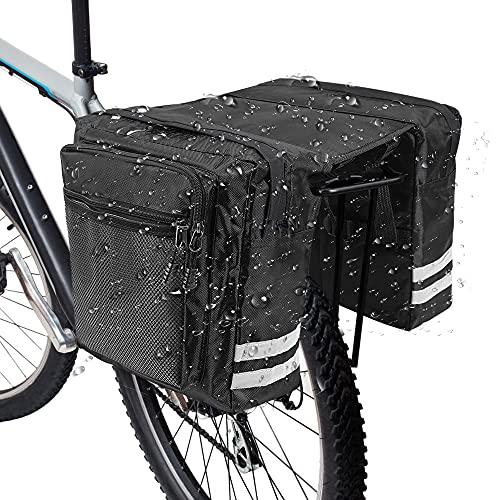 RANJIMA Bolsa para Bicicleta Trasera, Bolsa Trasera Bicicleta Multifuncional, Bolsa Alforja Impermeable, Bolsa de Asiento Trasero de Bicicleta con Cinta Reflectante para Paseo al Aire Libre