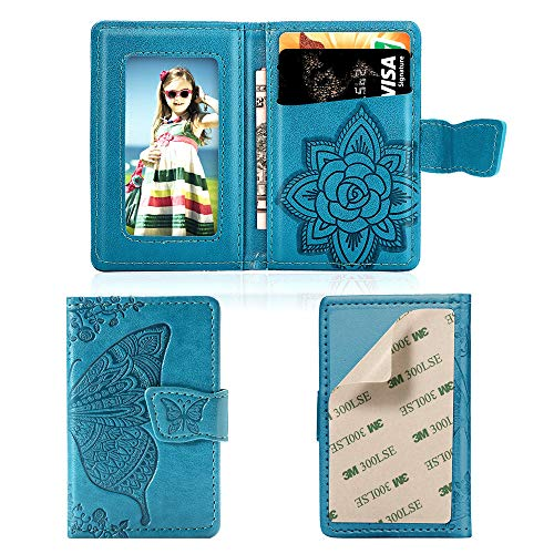 MEUPZZK Cell Phone Wallet Slim 3M Adhesive Credit Card Holder Stick on Wallet Cell Phone for iPhone/Android/Samsung Galaxy and Most Smartphones (A-Sky Blue)