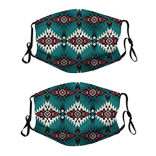 2 mascarillas de tela lavable con bucle ajustable para la oreja, nativo suroeste americano, azteca india, navajo, cubierta de boca reutilizable y transpirable, pasamontañas para hombres y mujeres