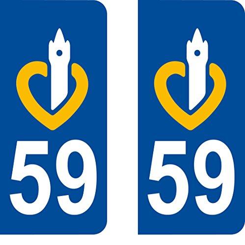 SAFIRMES 2 Stickers Autocollant Style Plaque Immatriculation département 59