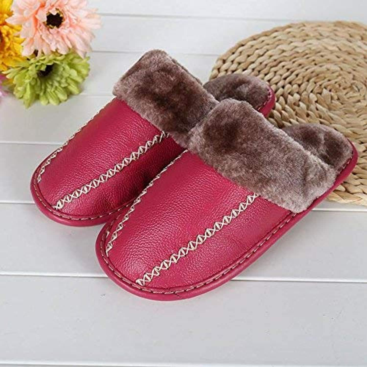 GouuoHi Womens Slippers Ladies Casual Faux-Leather Slippers in Autumn and Winter The Indoor Keep Warm Slippers pink Red Wine Red