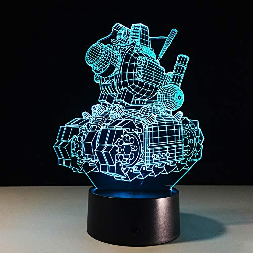 WAGUZA 3D Visual Illusion Cartoon Tank lamp Transparent Acrylic Night Light LED Fairy Lampa Colors Changing Touch Table Bulbing Light