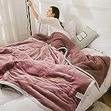RESUXI Couvertures Snug Rug Special Edition,Épaissie de Trois Couches de Couverture Courtepointe en Cuir d'agneau Couverture...