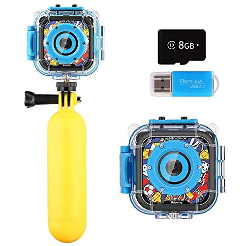 Kids Camera, iMoway Waterproof Video Cameras for Kids,YouTube Camera for Vlogging for Kids,HD 1080P Kids Digital Cameras Camcorder with 16GB Memory Card, Card Reader and Floating Hand Grip (Blue)