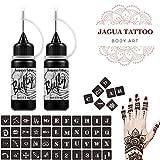 Beefly Jagua Temporary Tattoos Kit, Jagua Gel Semi Permanent Tattoo Freehand Gel/Ink (Organic Jagua Fruit Based) Dozens Pcs Free Stencils,DIY Tattoos Fake Freckles, Full Kit 2 Bottles(1oz)