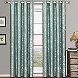 <span class='highlight'><span class='highlight'>eLuxurySupply</span></span> 2 Piece Charlotte Jacquard Grommet Window Treatment Curtain Panels Drapes 104x84 - Aqua