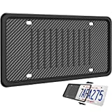 LEADSTAR Silicone License Plate Frame, Universal American Auto License Plate Holder, Rust-Proof Rattle-Proof Weather-Proof with 3 Drainage Holes Black Silicone License Plate Frame Cover (Black)