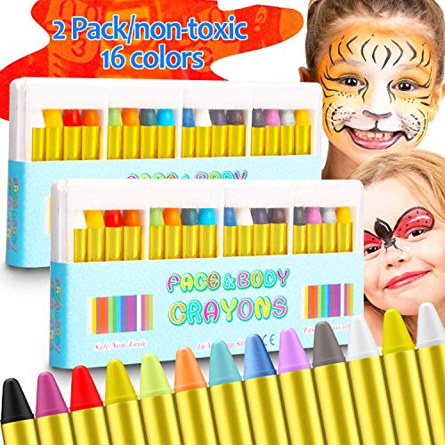 Blasoul 2-Pack Face Paint Crayons Safe for Sensitive Skin, 16 Colors Washable Face and Body Paint Sticks for Kids and Adults, Body and Face Painting Crayons kits for Birthday and Easter Party