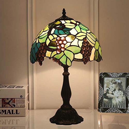 DSHBB Tiffany Style tafellamp, glas in lood tafellamp groen, huwelijkskamer, romantisch, kinderkamer, slaapkamer decoratie nachtlamp (kleur: legering basis)