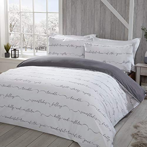 Sleepdown White Festive Winter Words Plain Charcoal Grey Reversible Duvet Cover Quilt Bedding Set with Pillowcases Easy Care Soft Warm & Cosy - King (220cm x 230cm)