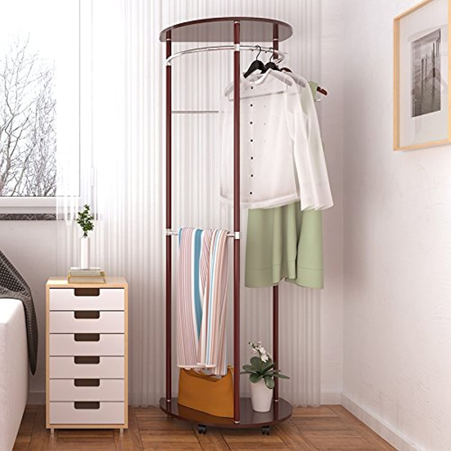 Simple and Modern Hangers Standing Coat Rack in The Foyer Floor Bedroom Creative Fashion Clothes Shelf Racks,Red