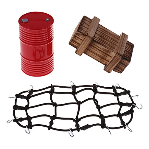 lahomia RC Roof Rack Luggage Net Oil Tank Crate Set for Scx10 RC Car Decor