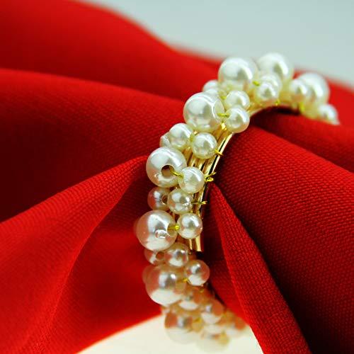 XKMY Weiße Perle Serviettenring Perlen Hochzeit Serviettenring günstig Serviettenring ganze Sake-Serviettenring