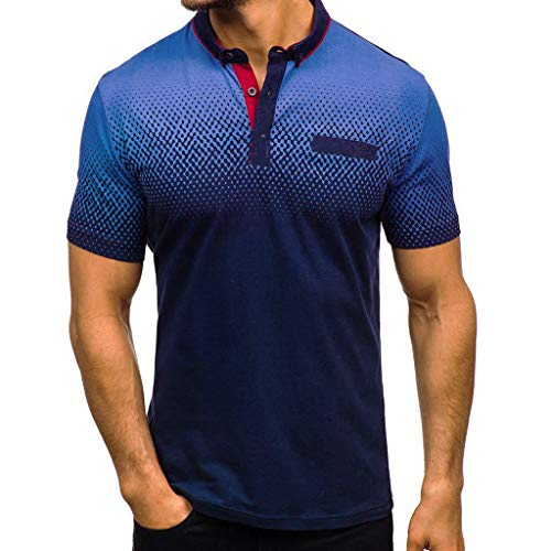 ZHANSANFM T Shirt ZHANSANFM Poloshirt Herren Revers T-Shirt Aufdruck Polohemd Shirt Mit Polokragen Kurzarm Top Freizeit Fitness Sweatshirt, XL, Blau