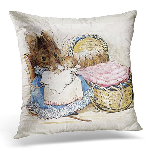 TORASS Throw Pillow Cover Vintage Mothers Beatrix Potter Mother's Day Watercolor Baby Decorative Pillow Case Home Decor Square 16x16 Inches Pillowcase