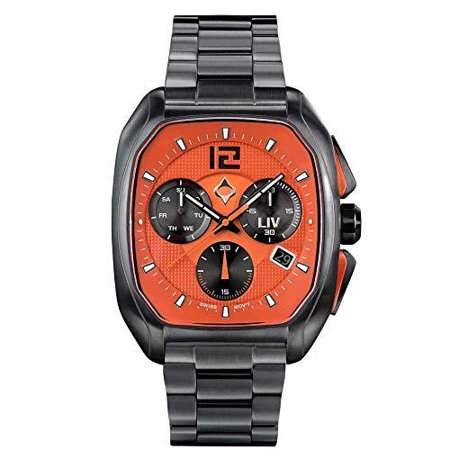 LIV Rebel-DDC オレンジアナログ表示クロノグラフカジュアルウォッチ メンズ 40 x 49mmケース 日付カレンダー付き 330フィート防水 ブレスレットにオレンジ色