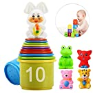 eyscar Stacking Cups Early Educational Toddlers Toy Bathtub Toys with Numbers & Animals Game for Kids Baby 11 Pack (Classic).