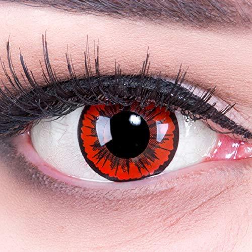 Farbige Kontaktlinsen red black Crazy Fun Engel Angel Jahres Linsen. Topqualität ideal zu Fasching und Karneval mit gratis Kontaktlinsenbehälter.