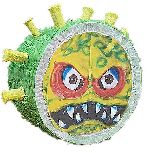 Piñata Méchant Coronavirus, piñata à briser, piñata de confinement à utiliser en famille, idéale pour un anniversaire, une fête, (vert)