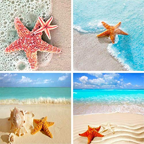 HaiMay 2 Pack DIY 5D Diamond Painting Kits Full Drill Rhinestone Painting Starfish Diamond Pictures for Wall Decoration,Sea Diamond Painting Style (Canvas 12×16 Inches)