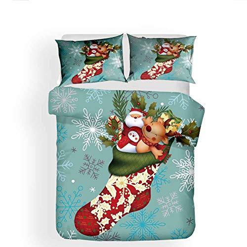 Set di biancheria da letto di Natale per bambini Ragazzi e ragazze Adolescenti 3D Stampa Piumino Cover Duvet Soft Microfiber Duvet Cover Decoration 3pcs Cover biancheria da letto,B-Twin:2PCS172X218CM