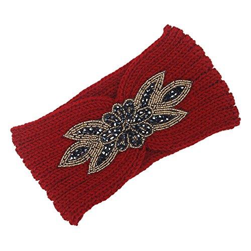 OSYARD Damen Mädchen Stirnband Kopfband Headband, Frauen Knitting Headband Handmade Warm Hairband mit Strass,Wolle Stirnbänder ElastischeKopfband OhrwärmerHeadwrap für Herbst Winter Frühling