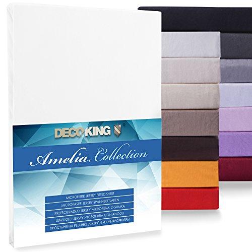 DecoKing Spannbettlaken Funda Bajera Ajustable, Microfibra, Blanco, 80x200-90x200