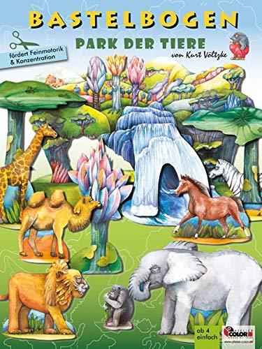 Park der Tiere Bastelbogen: 3d bespielbare Landschaft mit Tieren zum Ausschneiden und Basteln