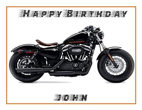 Essbarer Tortenaufsatz mit Harley Davidson Motorrad, A4 Größe