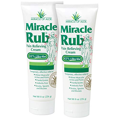 Miracle Rub Pain Relieving Cream with 42% Aloe, 8 oz tube (2 Pack)