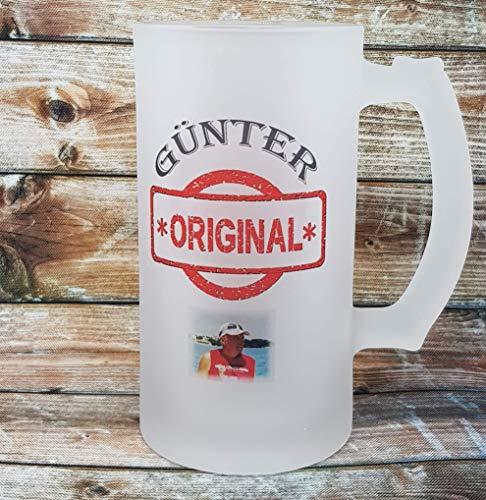 """Bierglas mit Namen und Foto personalisiert, Bierkrug satiniert mit Namen, """"The Original"""" und Fotodruck. Satiniertes Bierglas mit Henkel."""