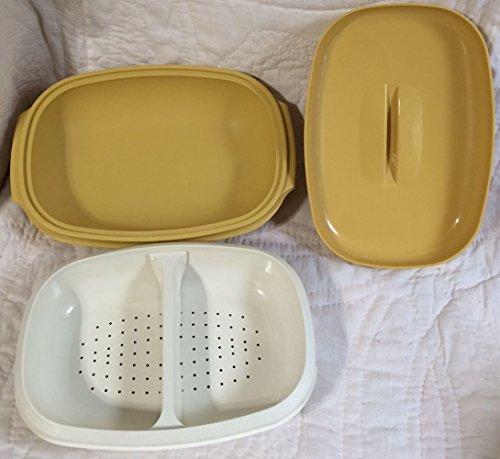 Vintage Harvest Gold Tupperware Serving Steamer with Divider - 4-Piece Dish
