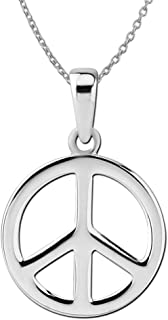 """Sterling Silver Small Peace Sign Pendant Necklace, 18"""""""