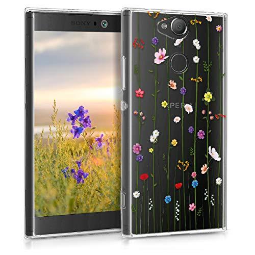 kwmobile Hülle kompatibel mit Sony Xperia XA2 - Handyhülle - Handy Hülle Wildblumen Ranke Mehrfarbig Transparent