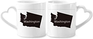 cold master DIY lab Washington The United States Map Couple Mugs Ceramic Lover Cups Heart Handle 12oz Gift Multicolor