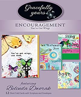 Gracefully Yours You've Got Wings Encouragement Greeting Cards, 12, 4 Designs/3 Each with Scripture Message