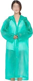 ポンチョ大人フード付きレインコート使い捨て肥厚旅行マントレインコート6色 (色 : Green)