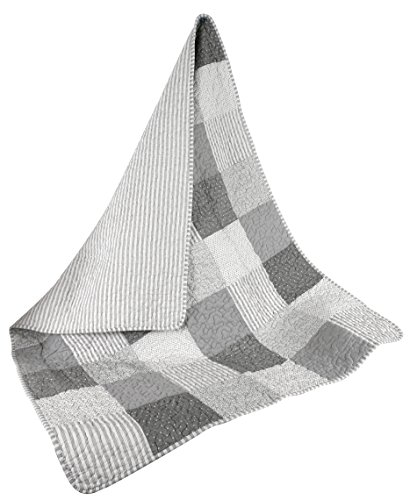 Stephan Baby Heirloom-Quality Pieced Crib Quilt, Gray and White Stripes and Dots with Straight Hem