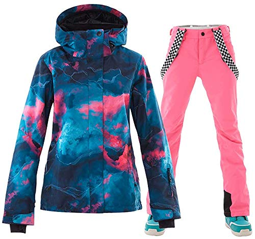 SunFlower6666 Damen hohe windundurchlässige wasserdichte technologie buntes gedrucktes snowboard skijacke rosa xs