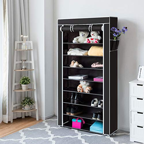 Tangkula 10 Tiers Shoes Racks with Dustproof Cover, Free Standing Shoes Storage Racks, 27 Pairs Shoe...