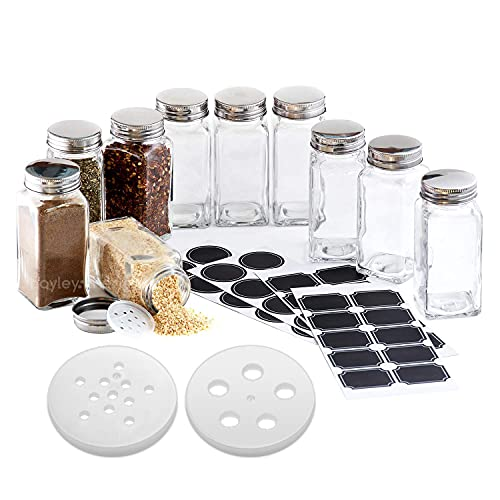 Hayley Cherie - 6 oz Large Square Glass Spice Jars (Set of 10) - Chalkboard Labels, Stainless Steel Lids and Large & Small Shaker Inserts
