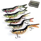 Oak-Pine 5pcs Bass Fishing Lure Sets - 7 Multi Jointed Bait with Box / 4.33'' Vivid Swimbaits Slow Sinking Hard Lures Hook/ Walleye Fish Tackle Bait for Freshwater Saltwater Carp Pike, etc B (SET5)